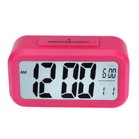 1PC Happy Gifts LED Digital Four Colors Snooze Alarm Clock Light Control White Backlight Time+Calendar