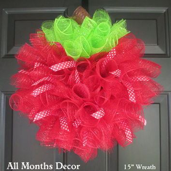 Red Apple Spiral Deco Mesh Wreath, Optional Polka Dot/Stripe Ribbons, School Teacher Principal Appreciation Gifts, Classroom Decorations