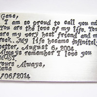 Hand stamped wallet insert, Personalized wallet card, gifts for men, wallet card, father of the bride, custom wallet card, metal insert