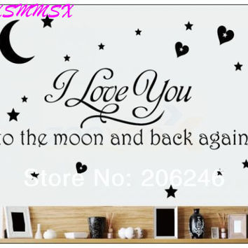 Black I Love You To The Moon And Back Wall Letter Decal Girls Kids Room Home Decor Wall Sticker 8116 SM6