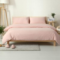 Cool Japanese-style Solid Color Bedding Set 100% washed Cotton Twin Europe Queen King Size Quilt Cover SetsAT_93_12