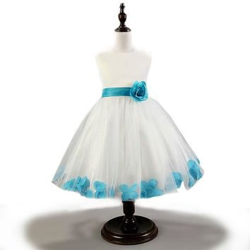 High-end flower girl dresses petal hem pageant dresses for little girls