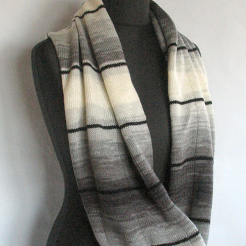 Gray Striped Infinity Scarf Cowl Wrap Black Dark Gray White