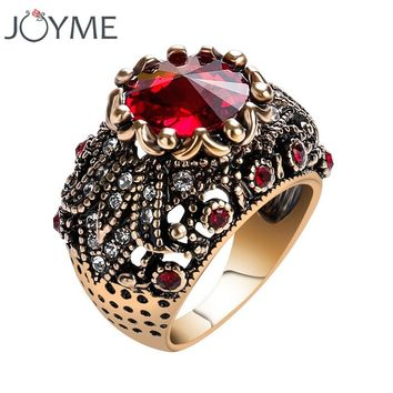 Turkey Jewelry Wedding Band Vintage Engagement Rings For Women Mosaic AAA Red Crystal Stone Punk Anel Bijoux Female Ring