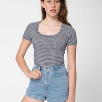 4380st - Striped Baby Rib Crop T
