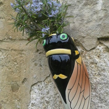 CICADA VALLAURIS / VINTAGE 70s / Outdoor & Gardening Ceramic / Porte-Bonheur / Garden Decoration / Gift Idea
