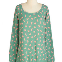 ModCloth Mid-length Long Sleeve Crafting Marathon Top in Hearts