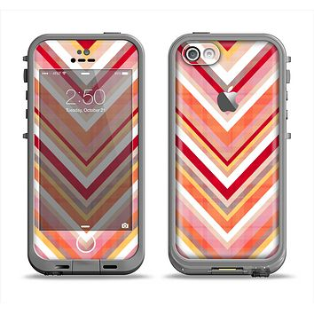 The Vibrant Red & Yellow Sharp Layered Chevron Pattern Apple iPhone 5c LifeProof Fre Case Skin Set