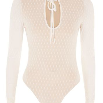 **Good Times Ivory Dot Mesh Bodysuit by WYLDR