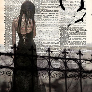 Gothic ghost girl art print, beautiful creepy girl cemetery, vintage dictionary page art print