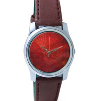 Maroon Background Wrist Watch