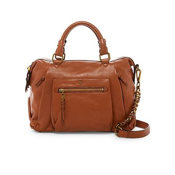Elliott Lucca Cognac Cow Valencia Cosette Leather Satchel Bag