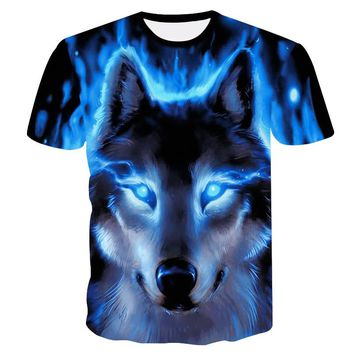 2018 Newest Wolf 3D Print Animal Cool Funny T-Shirt Men Short Sleeve Summer Tops T Shirt Tshirt Male Fashion T-shirt male4XL 1