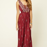 Floral Print Lace-Up Maxi Dress