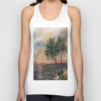 Beach Side  Oil on Canvas Unisex Tank Top by Annette Forlenza