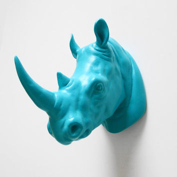Kruger, Gift for Him, Rhino Head, Faux Taxidermy, Rhino, Faux Rhino Head, Faux Animal Head, African Decor, Blue Rhino Head, Hodi Home Decor