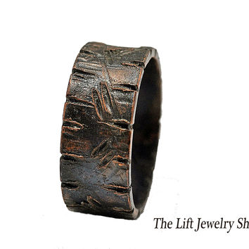 Engraved Custom Copper Ring Band, Alternative Wedding Ring, Woodgrain Finish, 3/8' Width, Dark Copper Finish