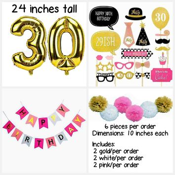 30th Birthday Pink Party Theme Box