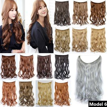 1PC New Women's Synthetic Hair Extension Beauty Fishing Line Curly Hair Piece Wigs wijiaC-170113048J03