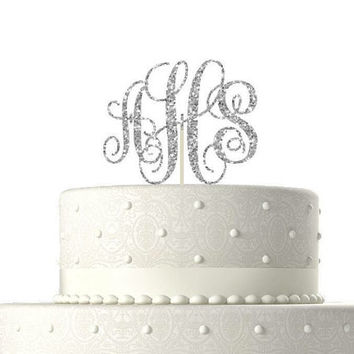 Birthday cake topper//GLITTER CAKE TOPPER//monogram cake topper//wedding cake topper//birthday cake topper