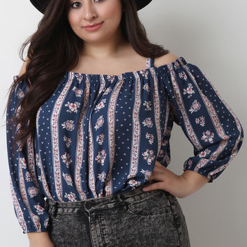 Plus Size Striped Floral Bardot Top | UrbanOG