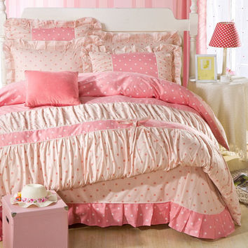 YADIDI 100% Cotton Pink Princess Polka Dot Girl Textile Ruffles Bedsheet Pillowcase Twin Queen King Size Duvet Cover Bedding Set