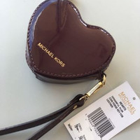 NWT Michael Kors Bag Quilted Leather Hearts Coin Purse Key Fob Wristlet Burgundy