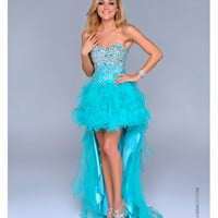 Teal Tulle & Beaded High-Low Prom Dress