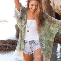 Myee Carlyle Fringe burnout Kimono in emerald waters