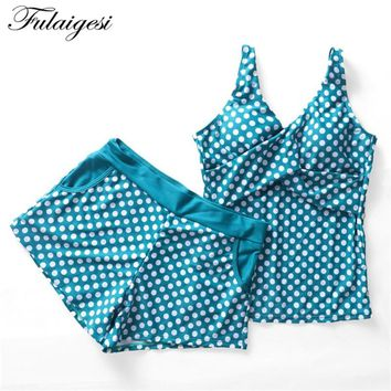 Fulaigesi Polka Dots Two piece bikini swimsuit 2018 new women Fused swimwear swimming suit with skirt bathing suit Tankini set