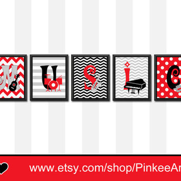 MUSIC nursery wall art playroom art modern kids wall art chevron polka dot stripe boy room decor drum piano guitar saxophone trumpet nursery