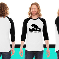 t-rex hates CPR American Apparel Unisex 3/4 Sleeve T-Shirt