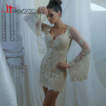 Vestido De Festa Curto Poet Long Sleeve Elegant Cocktail Dresses Lace Appliques Mini Cheap Prom Party Dress 2017 Custom Made