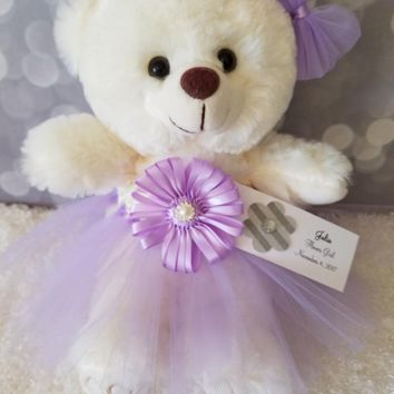 Girls Bat Mitzvah Gift Teddy Bear in a Tutu Dress in your choice of color