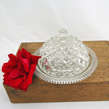 Vintage Retro Pressed Glass Butter Dish With Lid, Diamond Pattern Cheese Dish, UK Seller