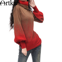 Artka Women's Vintage Style Elegant Slim Puff Sleeve Gradient Double Layer Jacquard Knitted Color Gradient Sweater  YB11528D
