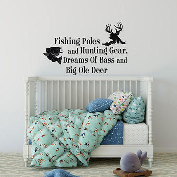 Fishing Poles and Hunting Gear Wall Decal - Fishing Decal, Hunting Decal, Cabin Decor, Lake House Decor, Woodland Nursery Decor Boy K73