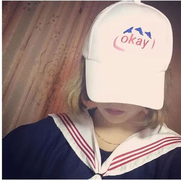 Korean Hats Embroidery Cap Couple Outdoors Baseball Cap [10136600967]