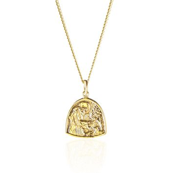 La Luna Rose St Assisi the Patron Saint of Animals and the Environment Pendant Necklace in Gold
