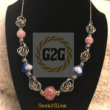 Glass bead and stainless steel persian style chainmail necklace pink blue and silver
