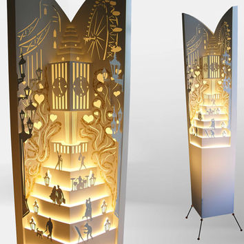 Floor lamp/ Big ben London tower/ lamp/ Free Shipping/ Lampshade/ Night lamp/ Paper lamp/ Big ben art/ Tower design/ Clock lamp