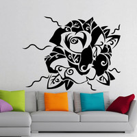 Flower Wall Decals Beautiful Rose Flowering Blossom Stickers Living Room Decor Vinyl Decal Sticker Art Mural Bedroom Kids Room Decor MR317