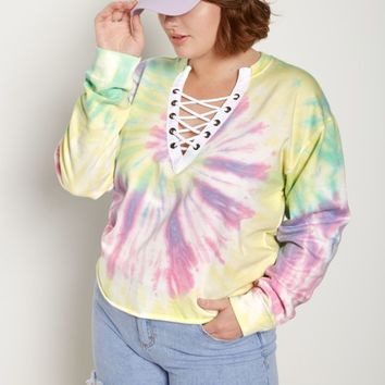 Plus Pastel Tie-Dye Lace-Up Crop Sweatshirt | Plus Sweatshirts & Hoodies | rue21