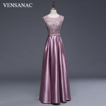 VENSANAC New A Line 2017 Embroidery O Neck Long Evening Dresses Sleeveless Elegant Tank Lace Appliques Sash Party Prom Gowns