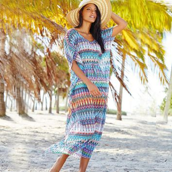 Sexy Beach Tunic Long Women Bikini Cover-Up Chiffon Beach Dresses Short Sleeves Dresses Holiday New Swimsuits Cover Ups Sarongs