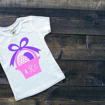 Monogram Easter Tee ~ Toddler shirt ~ Personalized easter gift ~ egg hunt ~ first easter ~ easter appliqué ~ 6M, 12M 18M, 2T, 3T, 4T 5/6, 7