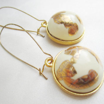 Antarctica Gold Handmade Porcelain Earrings OOAK Cream and Gold Crackle Foil Cabochons Artisan Earrings Minimalist Long Kidney Ear Wires