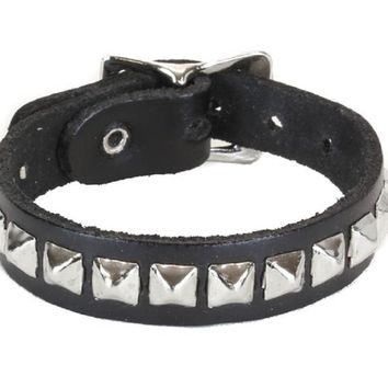 1-Row Mini Silver Pyramid Stud Quality Leather Wristband Bracelet