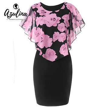 AZULINA Women Dress Plus Size 5XL Rose Valentine Overlay Capelet Bodycon Dress Casual Work Party Office Ladies Dresses Vestidos