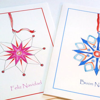 Spanish Card, Christmas Greeting Card, Contemporary Card, Geometric Design, Modern Art, Watercolor Card